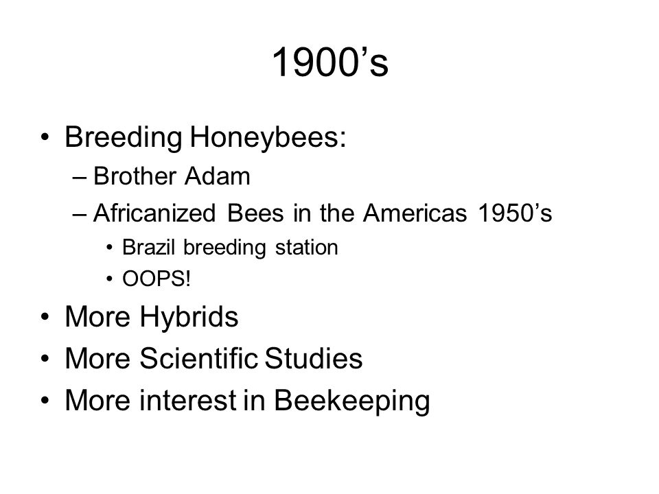 1900's Breeding Honeybees: –Brother Adam –Africanized Bees in the Americas 1950's Brazil breeding station OOPS.