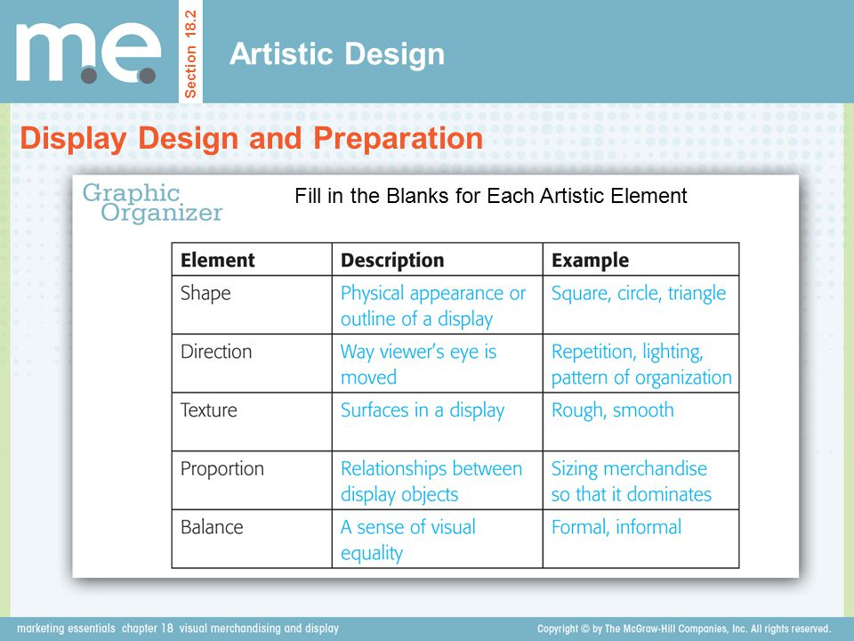 Artistic Design Section 18.2 Display Design and Preparation Fill in the Blanks for Each Artistic Element