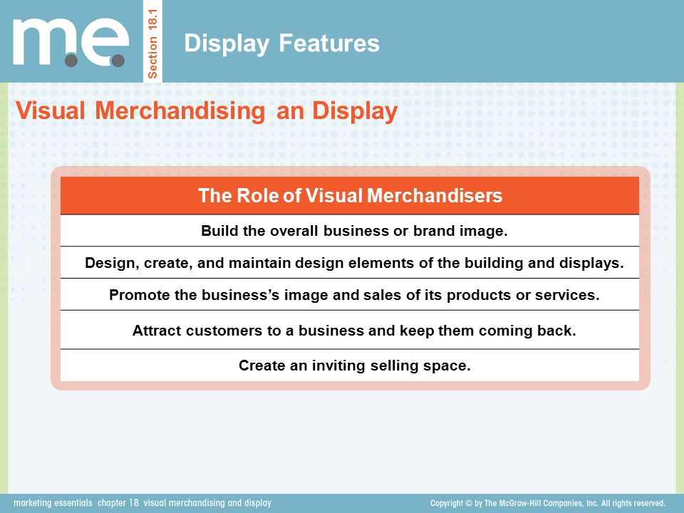 Visual merchandising must know the rules of artistic design to create displays that enhance sales, attract customers, and sustain customer loyalty.