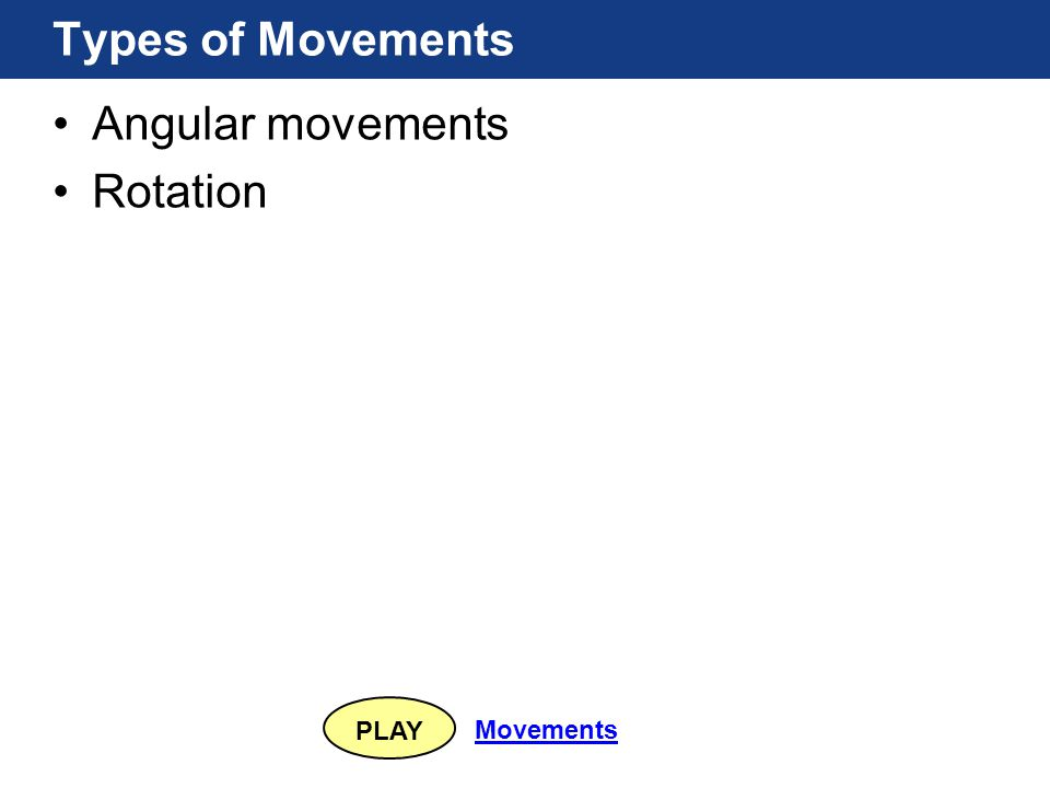 PLAY Movements Types of Movements Angular movements Rotation