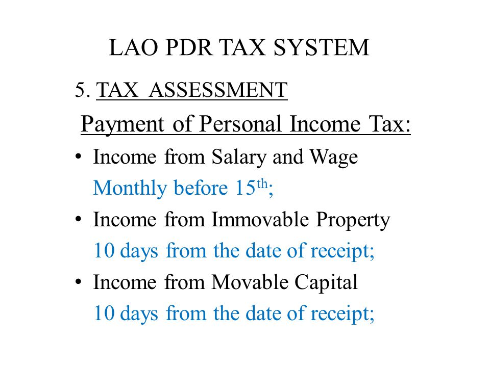LAO PDR TAX SYSTEM 5.