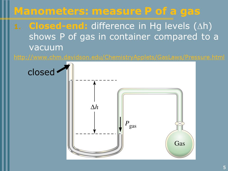 5 1. Closed-end: difference in Hg levels (h) shows P of gas in container compared to a vacuum http://www.chm.davidson.edu/ChemistryApplets/GasLaws/Pr