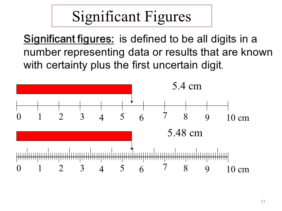 13 Significant figures: is defined to be all digits in a number representing data or results that are known with certainty plus the first uncertain digit.
