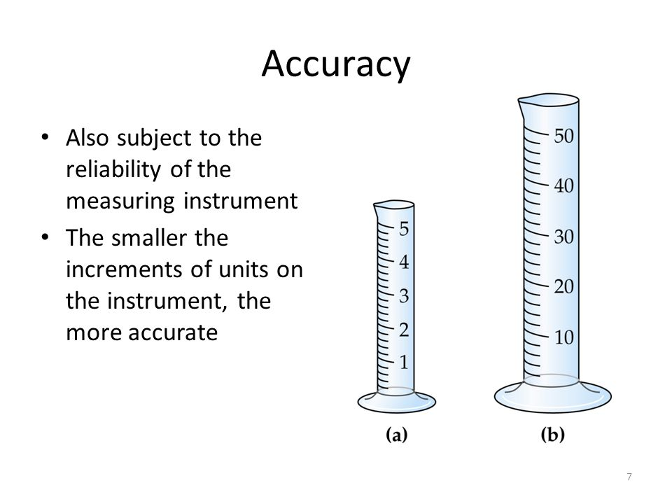 7 Accuracy Also subject to the reliability of the measuring instrument The smaller the increments of units on the instrument, the more accurate