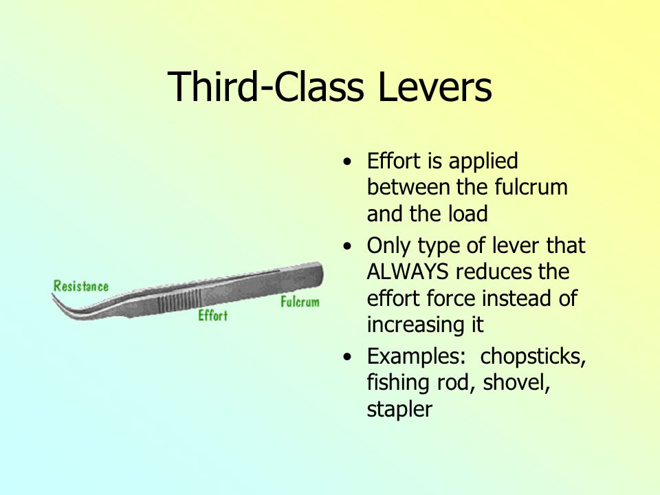 Third-Class Levers Effort is applied between the fulcrum and the load Only type of lever that ALWAYS reduces the effort force instead of increasing it Examples: chopsticks, fishing rod, shovel, stapler