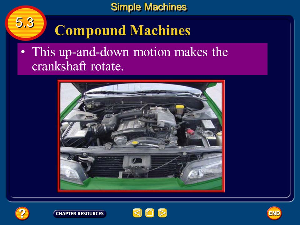 Compound Machines Two or more simple machines that operate together form a compound machine. A car is a compound machine. Burning fuel in the cylinder