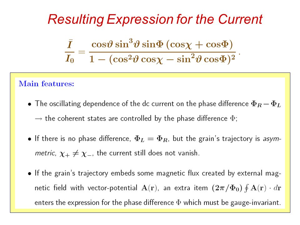 Resulting Expression for the Current