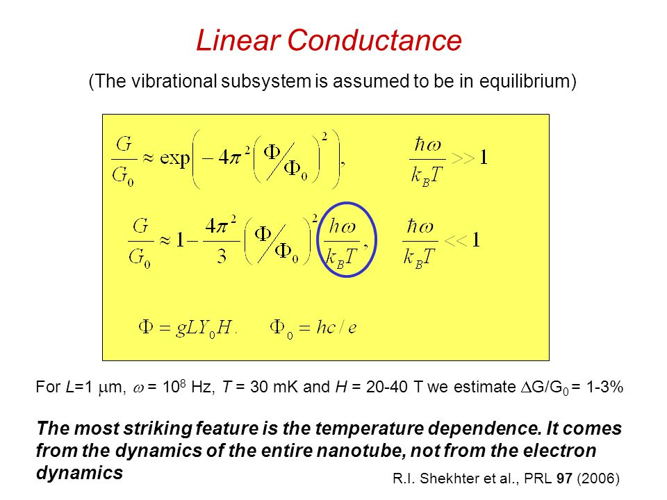 Linear Conductance (The vibrational subsystem is assumed to be in equilibrium) For L=1  m,  = 10 8 Hz, T = 30 mK and H = 20-40 T we estimate  G/G 0 = 1-3% The most striking feature is the temperature dependence.