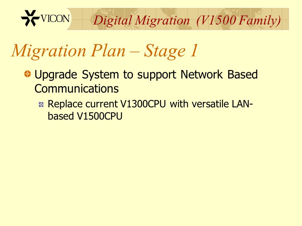Digital Migration (V1500 Family) Upgrade System to support Network Based Communications Replace current V1300CPU with versatile LAN- based V1500CPU Mi