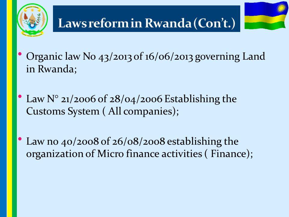 Organic law No 43/2013 of 16/06/2013 governing Land in Rwanda; Law N° 21/2006 of 28/04/2006 Establishing the Customs System ( All companies); Law no 4