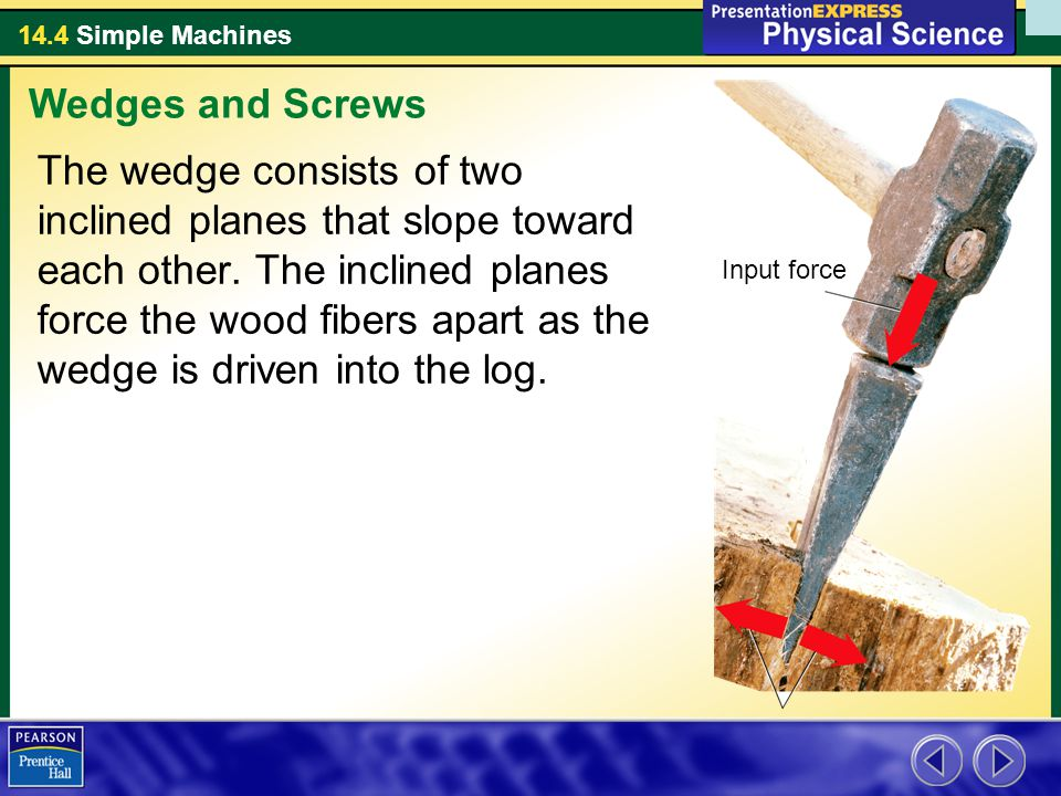 14.4 Simple Machines The wedge consists of two inclined planes that slope toward each other. The inclined planes force the wood fibers apart as the we