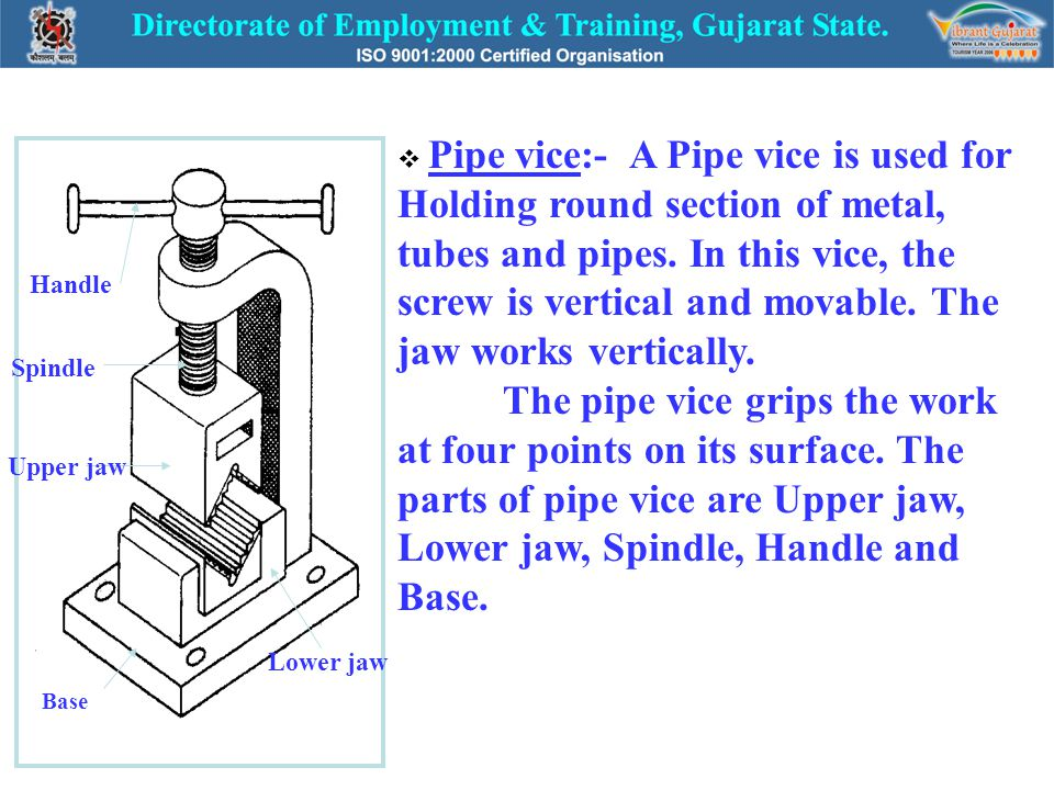 Handle Spindle Upper jaw Lower jaw Base  Pipe vice:- A Pipe vice is used for Holding round section of metal, tubes and pipes. In this vice, the screw