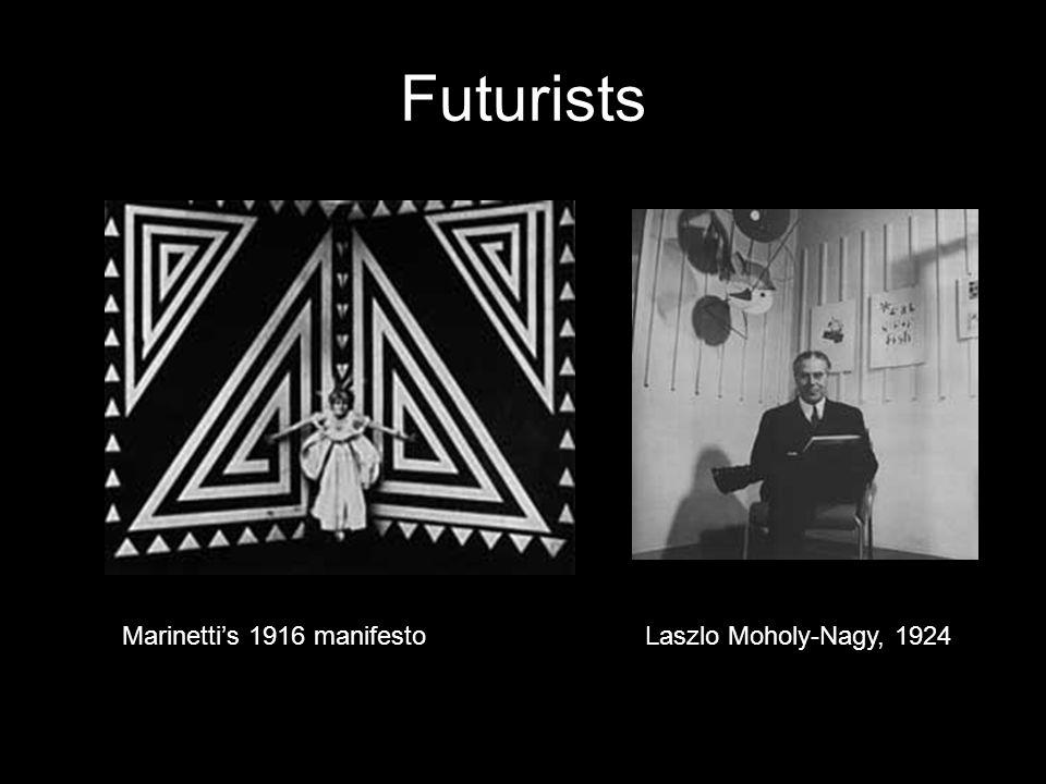Futurists Marinetti's 1916 manifestoLaszlo Moholy-Nagy, 1924