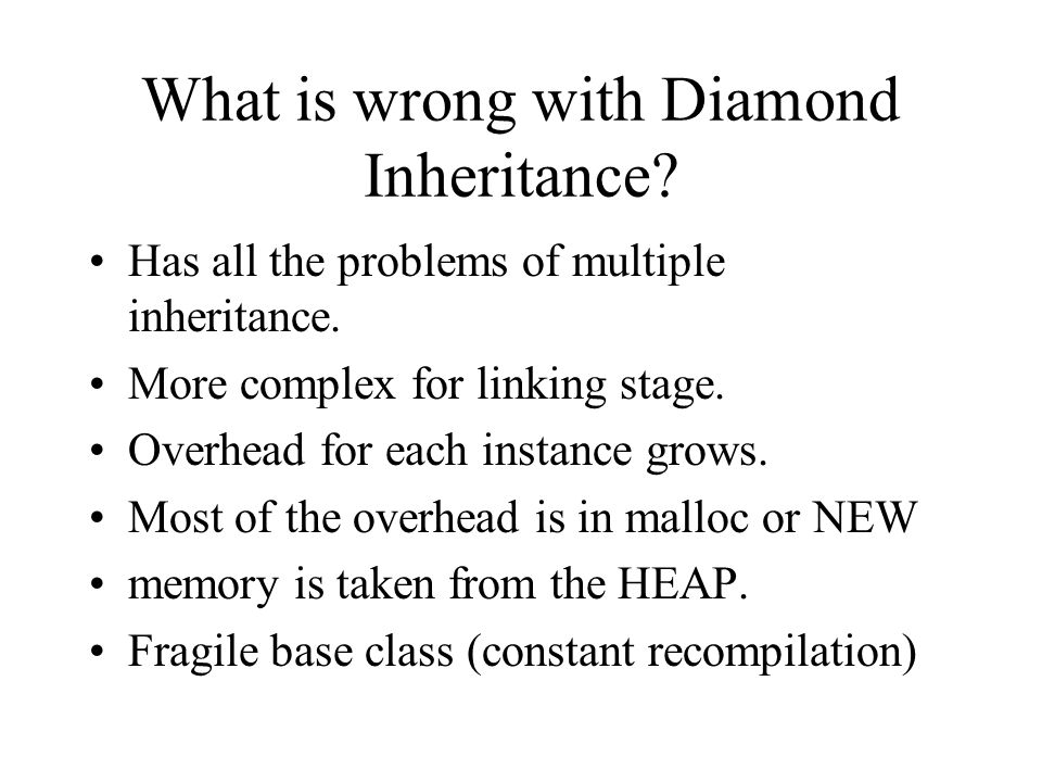 What is wrong with Diamond Inheritance.Has all the problems of multiple inheritance.
