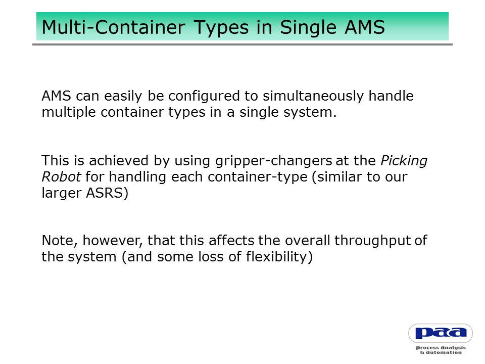 Multi-Container Types in Single AMS AMS can easily be configured to simultaneously handle multiple container types in a single system.