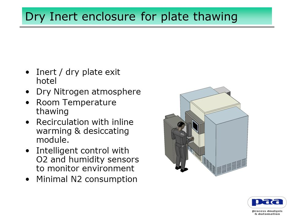 Dry Inert enclosure for plate thawing Inert / dry plate exit hotel Dry Nitrogen atmosphere Room Temperature thawing Recirculation with inline warming