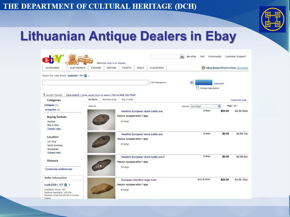 THE DEPARTMENT OF CULTURAL HERITAGE (DCH) Lithuanian Antique Dealers in Ebay