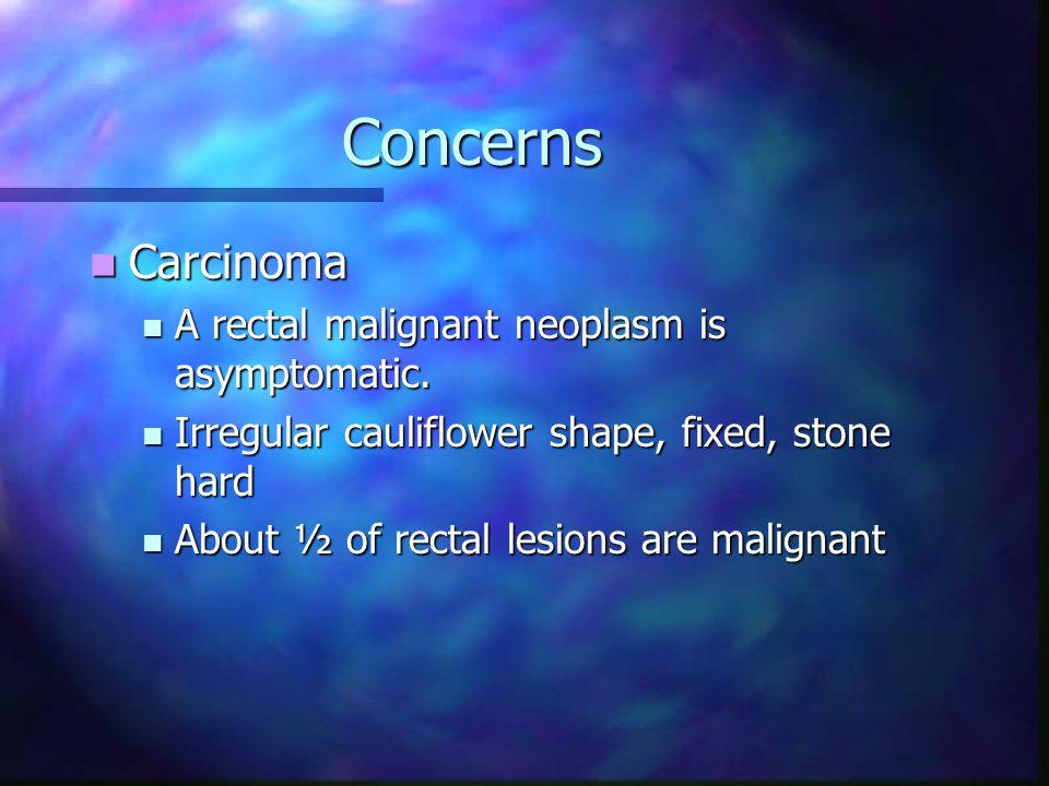 Concerns Carcinoma Carcinoma A rectal malignant neoplasm is asymptomatic.