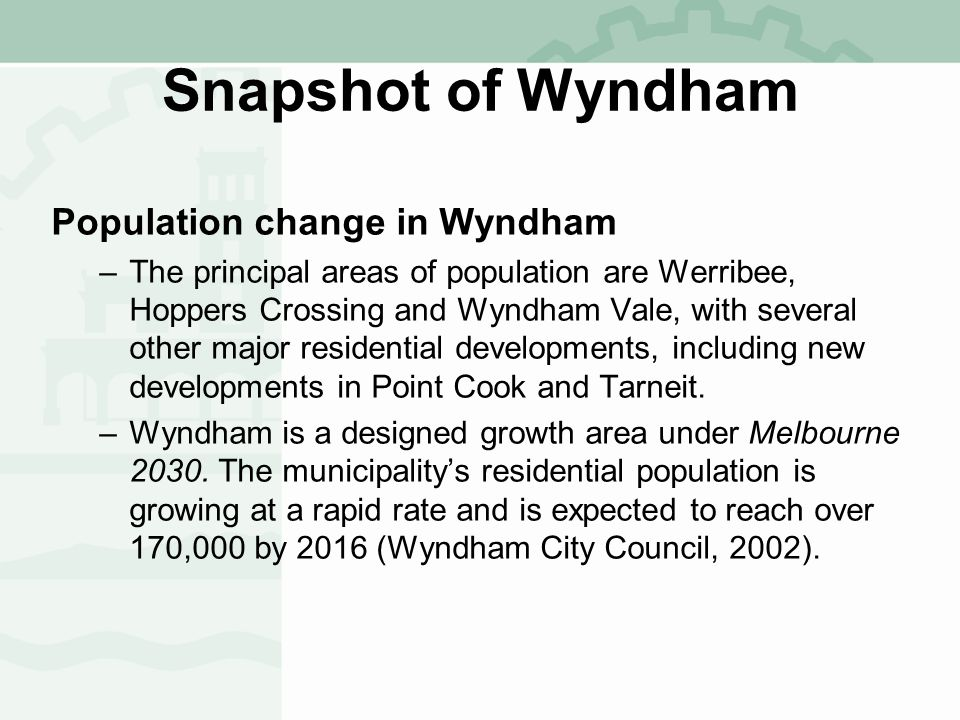 City of Wyndham Forecast population and average household size, 2001 to 2021
