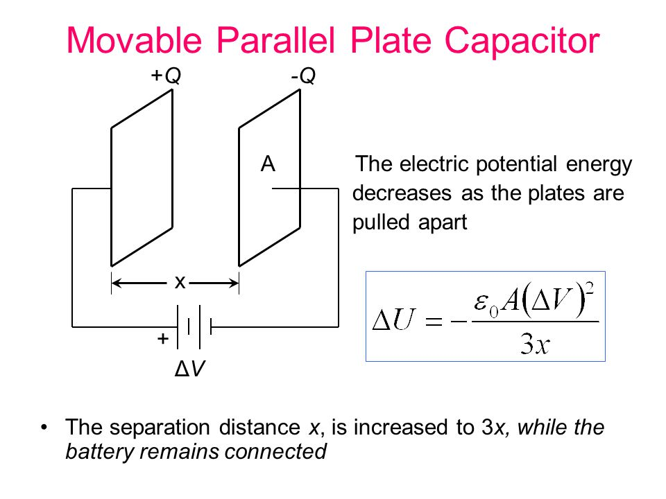 Movable Parallel Plate Capacitor +Q -Q A The electric potential energy decreases as the plates are pulled apart x + ΔV The separation distance x, is increased to 3x, while the battery remains connected