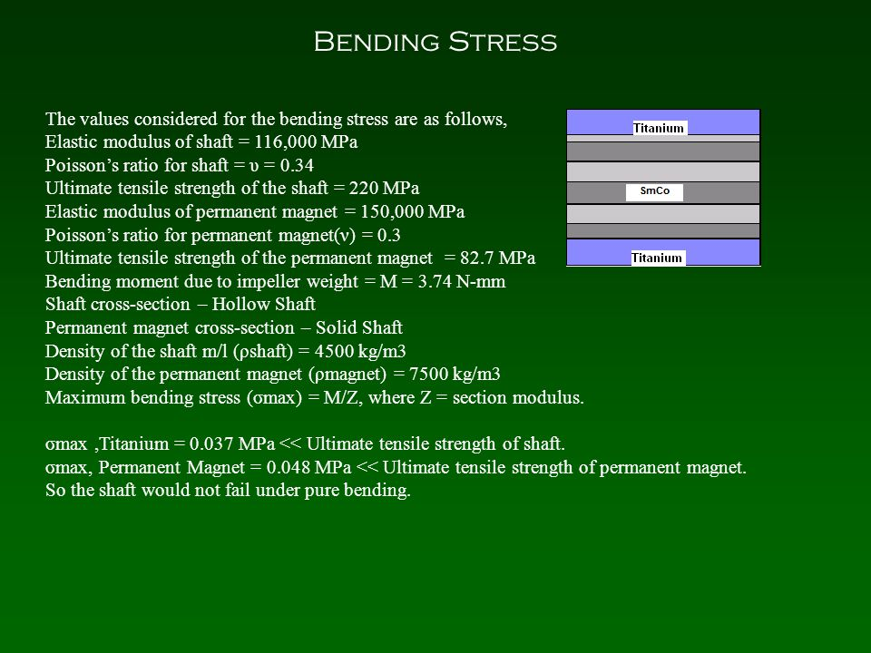 Bending Stress The values considered for the bending stress are as follows, Elastic modulus of shaft = 116,000 MPa Poisson's ratio for shaft = υ = 0.34 Ultimate tensile strength of the shaft = 220 MPa Elastic modulus of permanent magnet = 150,000 MPa Poisson's ratio for permanent magnet(ν) = 0.3 Ultimate tensile strength of the permanent magnet = 82.7 MPa Bending moment due to impeller weight = M = 3.74 N-mm Shaft cross-section – Hollow Shaft Permanent magnet cross-section – Solid Shaft Density of the shaft m/l (ρshaft) = 4500 kg/m3 Density of the permanent magnet (ρmagnet) = 7500 kg/m3 Maximum bending stress (σmax) = M/Z, where Z = section modulus.