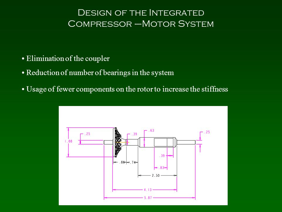 Design of the Integrated Compressor –Motor System Elimination of the coupler Reduction of number of bearings in the system Usage of fewer components on the rotor to increase the stiffness