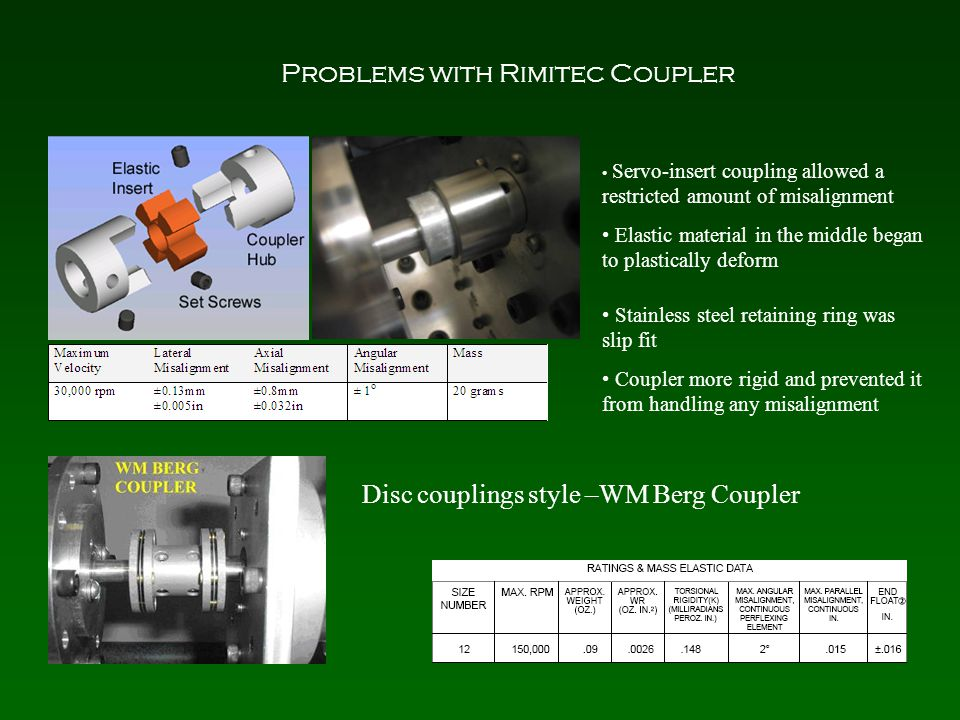 Problems with Rimitec Coupler Servo-insert coupling allowed a restricted amount of misalignment Elastic material in the middle began to plastically deform Stainless steel retaining ring was slip fit Coupler more rigid and prevented it from handling any misalignment Disc couplings style –WM Berg Coupler