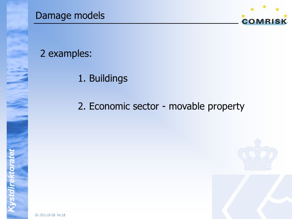 Kystdirektoratet Gr.001-16-36 Nr.18 Damage models 2 examples: 1.