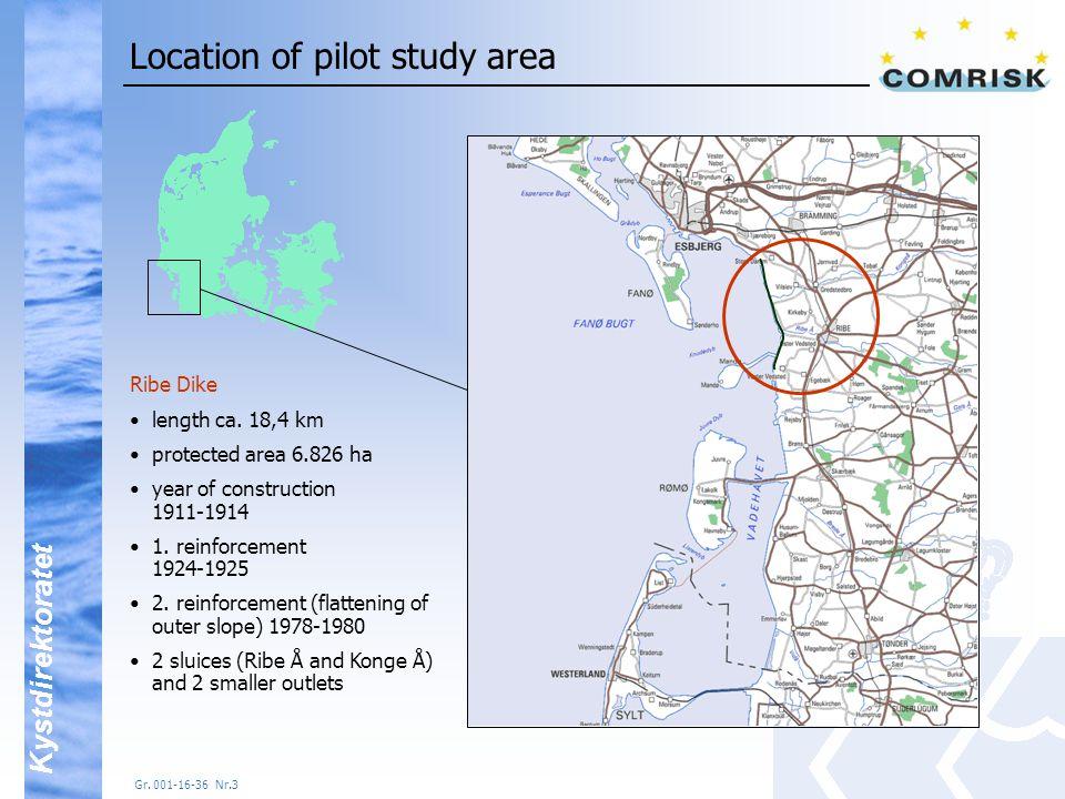 Kystdirektoratet Gr.001-16-36 Nr.3 Location of pilot study area Ribe Dike length ca.