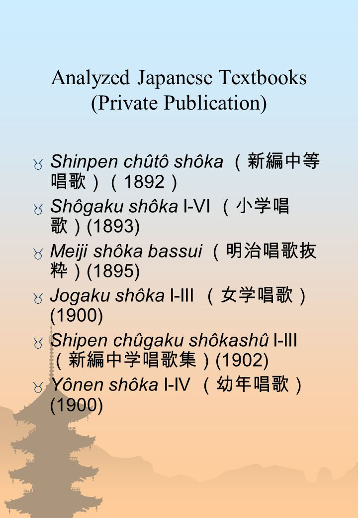 Analyzed Japanese Textbooks (Private Publication)  Shinpen chûtô shôka (新編中等 唱歌)( 1892 )  Shôgaku shôka I-VI (小学唱 歌) (1893)  Meiji shôka bassui (明治