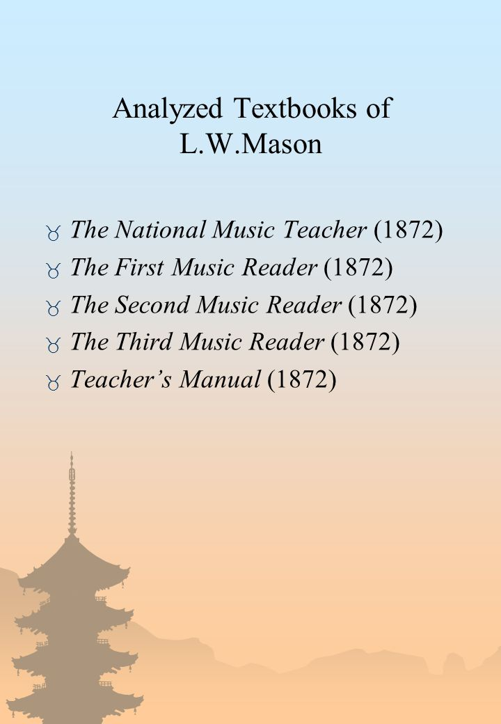 Analyzed Textbooks of L.W.Mason _ The National Music Teacher (1872) _ The First Music Reader (1872) _ The Second Music Reader (1872) _ The Third Music Reader (1872) _ Teacher's Manual (1872)