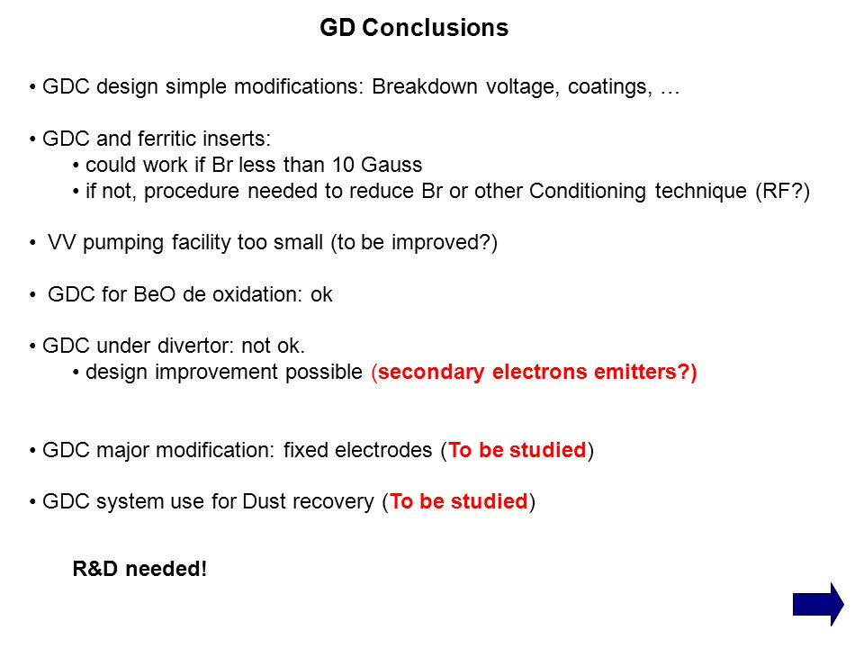 GD Conclusions GDC design simple modifications: Breakdown voltage, coatings, … GDC and ferritic inserts: could work if Br less than 10 Gauss if not, procedure needed to reduce Br or other Conditioning technique (RF ) VV pumping facility too small (to be improved ) GDC for BeO de oxidation: ok GDC under divertor: not ok.