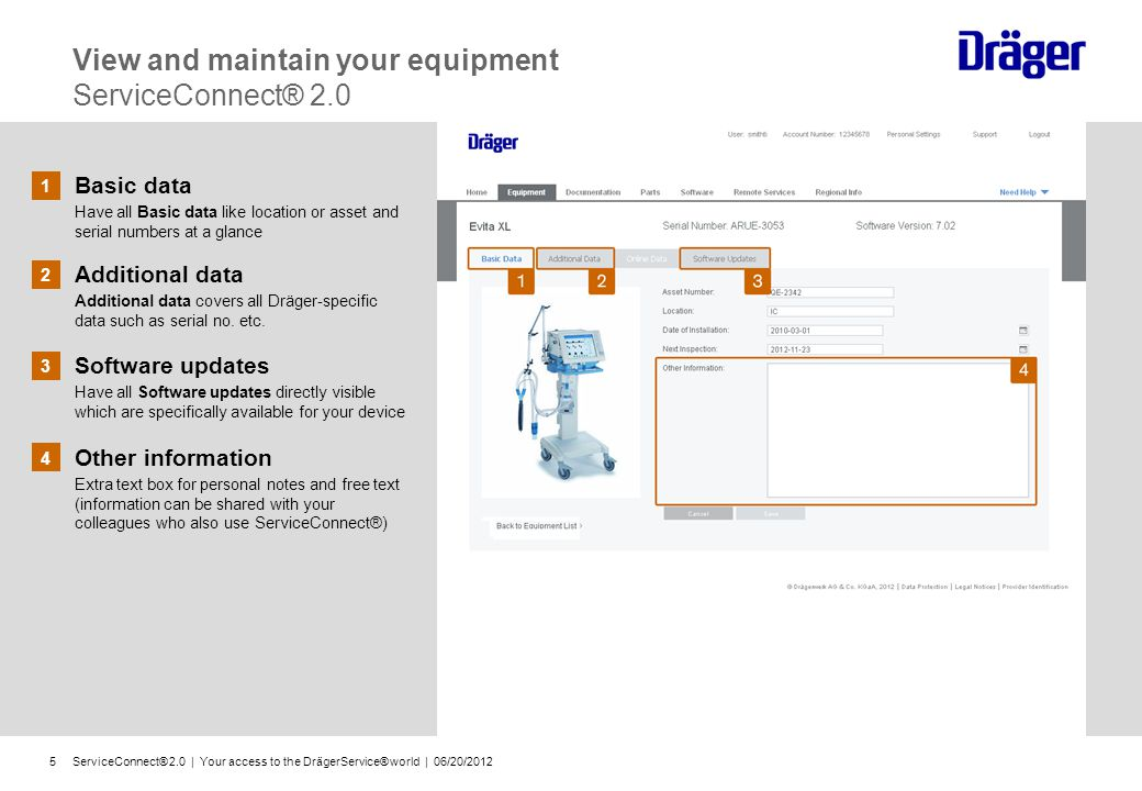 ServiceConnect® 2.0   Your access to the DrägerService® world   06/20/20126 3 Hide tree navigation For a larger view on your documentation details simply hide the tree navigation Insight into documentation ServiceConnect® 2.0 1 Simple navigation order Structured for routine tasks (installation, maintenance, repair etc.) Precise overview on folders and file paths of all available documentations Always up-to-date insight on all documentation statuses 2 Original Dräger documentation Detailed pictures, step-by-step instructions and interactive links