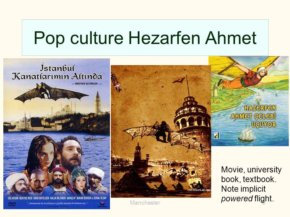 Pop culture Hezarfen Ahmet 2013Manchester9 Movie, university book, textbook. Note implicit powered flight.