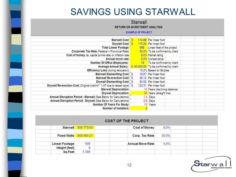 12 SAVINGS USING STARWALL