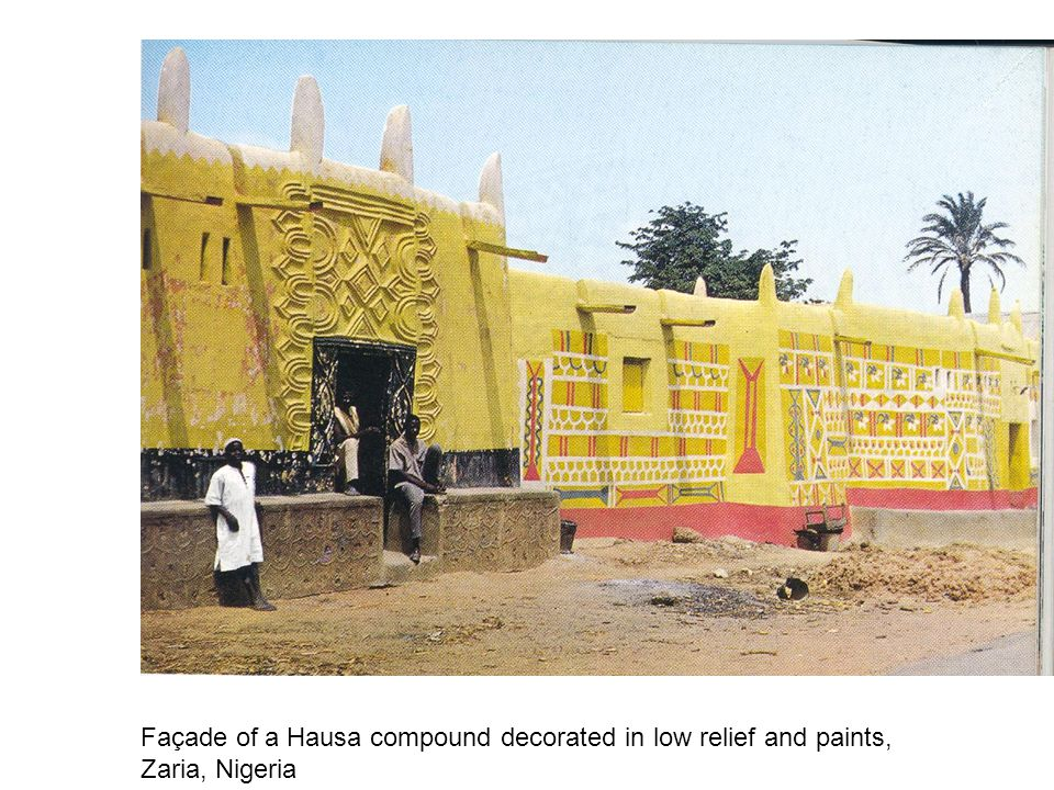 Façade of a Hausa compound decorated in low relief and paints, Zaria, Nigeria