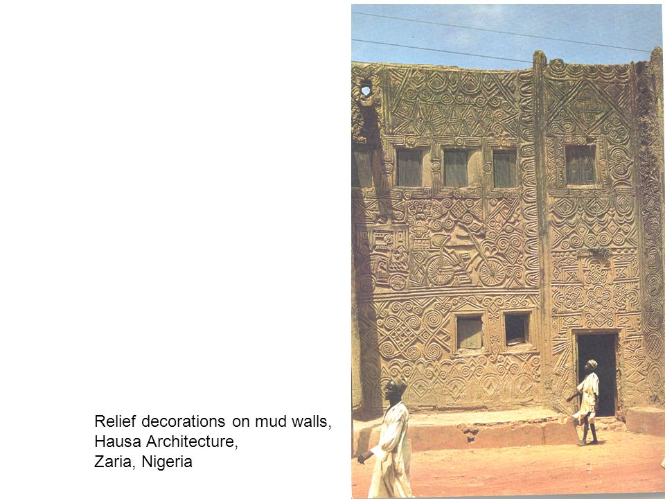 Relief decorations on mud walls, Hausa Architecture, Zaria, Nigeria