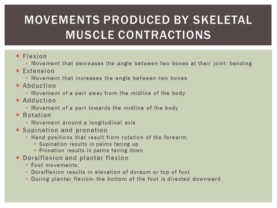  Flexion  Movement that decreases the angle between two bones at their joint: bending  Extension  Movement that increases the angle between two bones  Abduction  Movement of a part away from the midline of the body  Adduction  Movement of a part towards the midline of the body  Rotation  Movement around a longitudinal axis  Supination and pronation  Hand positions that result from rotation of the forearm;  Supination results in palms facing up  Pronation results in palms facing down  Dorsiflexion and plantar flexion  Foot movements;  Dorsiflexion results in elevation of dorsum or top of foot  During plantar flexion- the bottom of the foot is directed downward MOVEMENTS PRODUCED BY SKELETAL MUSCLE CONTRACTIONS