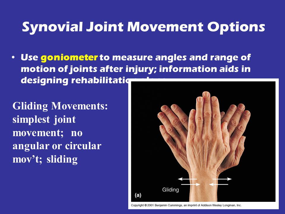 Synovial Joint Movement Options Use goniometer to measure angles and range of motion of joints after injury; information aids in designing rehabilitation plans Gliding Movements: simplest joint movement; no angular or circular mov't; sliding