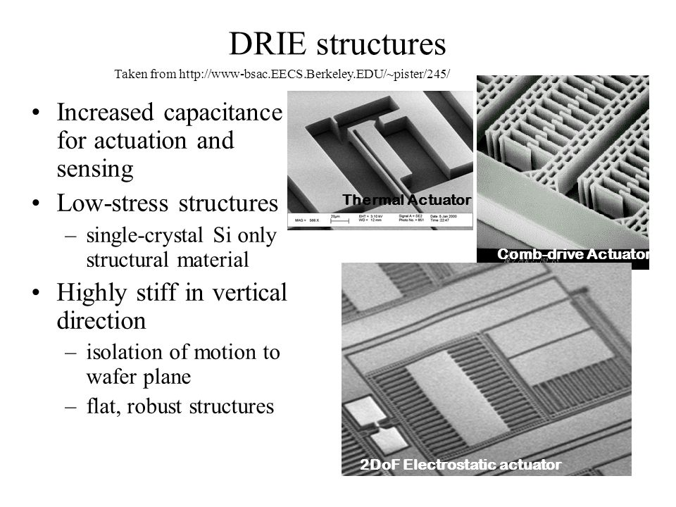 DRIE structures Increased capacitance for actuation and sensing Low-stress structures –single-crystal Si only structural material Highly stiff in vert