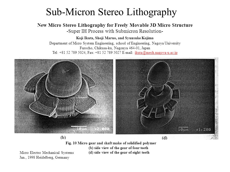 Sub-Micron Stereo Lithography Micro Electro Mechanical Systems Jan., 1998 Heidelberg, Germany New Micro Stereo Lithography for Freely Movable 3D Micro