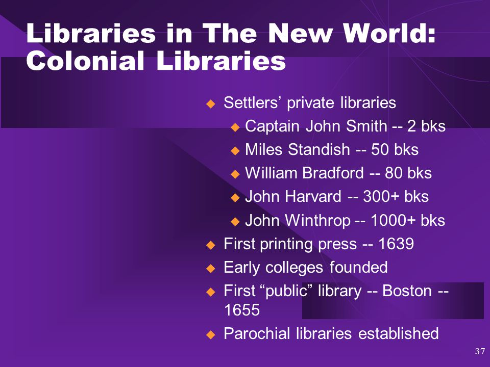 38 Libraries in The New World: The American Revolution & Nationalism  Before the Revolution u Ben Franklin, wealth, and social libraries  After the Revolution u The Athenaeum -- reading rooms established u Mechanics'/apprentices' libraries u Mill libraries u Circulating/lending libraries  Nationalism u Historical societies u State and territorial libraries u The Library of Congress The Boston Athaenum