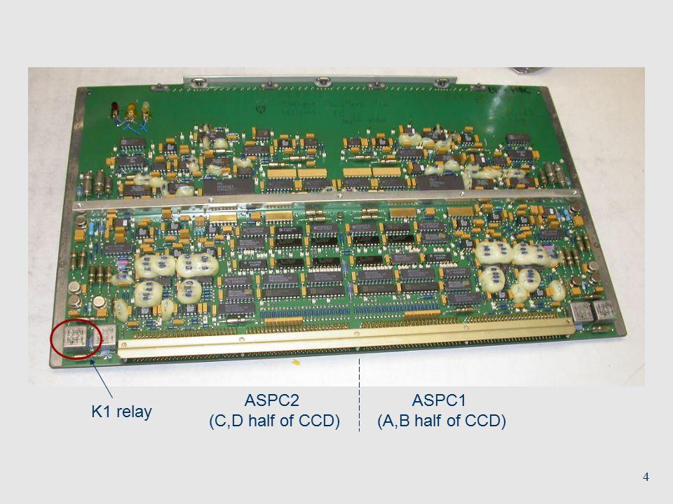 4 K1 relay ASPC1 (A,B half of CCD) ASPC2 (C,D half of CCD)