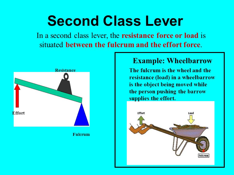 Second Class Lever Effort Resistance In a second class lever, the resistance force or load is situated between the fulcrum and the effort force.