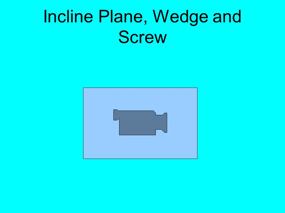Incline Plane, Wedge and Screw