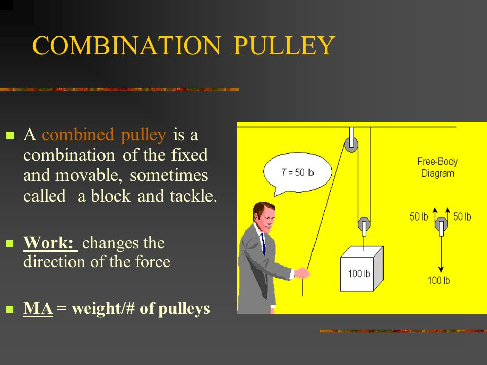 COMBINATION PULLEY A combined pulley is a combination of the fixed and movable, sometimes called a block and tackle.