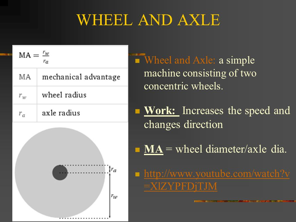 WHEEL AND AXLE Wheel and Axle: a simple machine consisting of two concentric wheels.