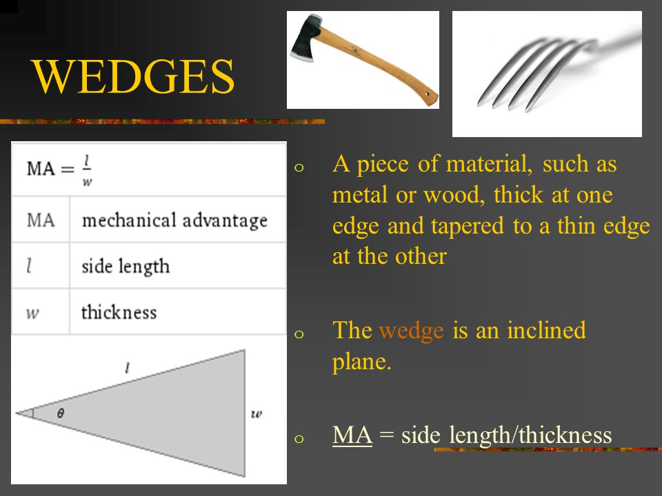 WEDGES o A piece of material, such as metal or wood, thick at one edge and tapered to a thin edge at the other o The wedge is an inclined plane.