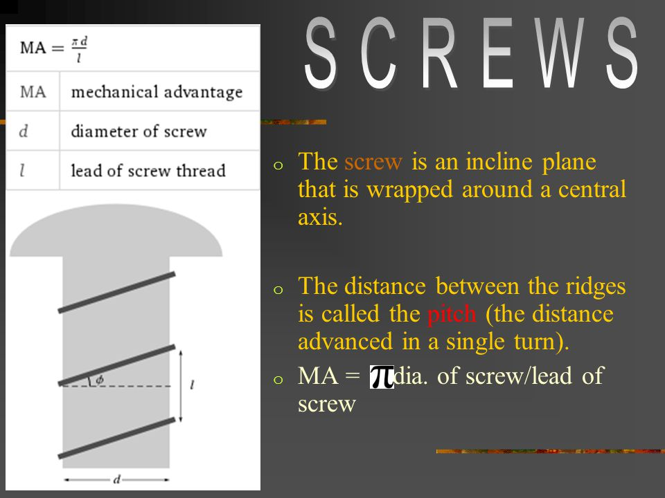 o The screw is an incline plane that is wrapped around a central axis.