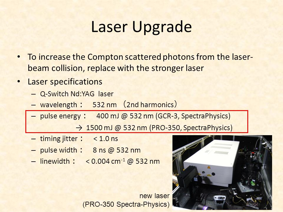 Laser Upgrade To increase the Compton scattered photons from the laser- beam collision, replace with the stronger laser Laser specifications – Q-Switc
